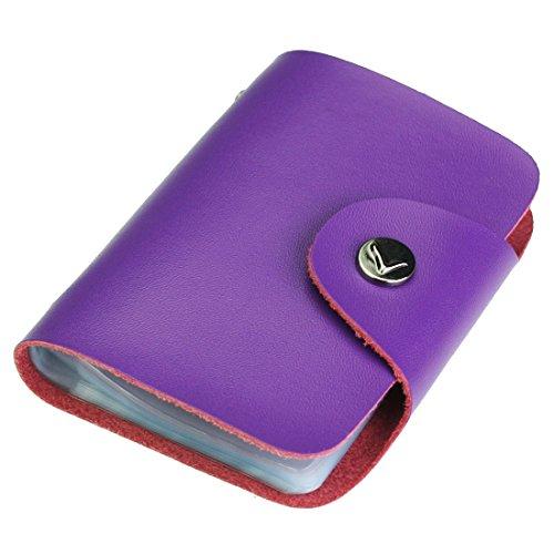 kilofly Credit Card Holder - Retro Style with 26 Card Pockets - Sophia, Purple, with kilofly Mini Gift-for-You Card