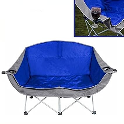 Superbe 2 Person Outdoor Padded Portable Folding Love Seat Club Chair Blue Gray