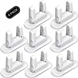 Door Lever Lock - Child/Pets Proof Door Handle Lock with 3M Adhesive - Child Safety Locks by AIRSPO (White, 8 Pack)