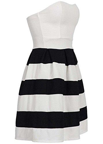 Violet Fashion Damen Mini Bandeau Kleid Zipper hinten Streifen Muster Brustpolster, weiß schwarz, Gr:S