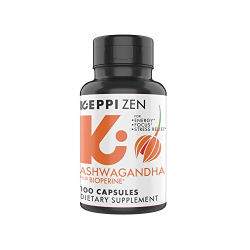 Keppi Zen Premium Ashwagandha Capsules with BioPerine: Anti Anxiety Supplements for Balanced Energy and Mood Support (100 Count) Made with Real Ashwagandha Powder Extract