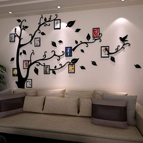 412pVYcUJ5L. AC - 3D Tree Wall Stickers - DIY Photo Frame Tree Wall Decal Family Photo Frame Sticker Murals Wall Décor For Nursery Living Room Bedroom TV Background Home Decorations (XL:10979in, Black Right)