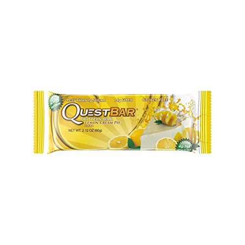 Quest Nutrition Protein Bar, Lemon Cream Pie, 20g Protein, 4g Net Carbs, 170 Cals, High Protein Bars, Low Carb Bars, Gluten Free, Soy Free, 2.1 oz Bar, 12 Count