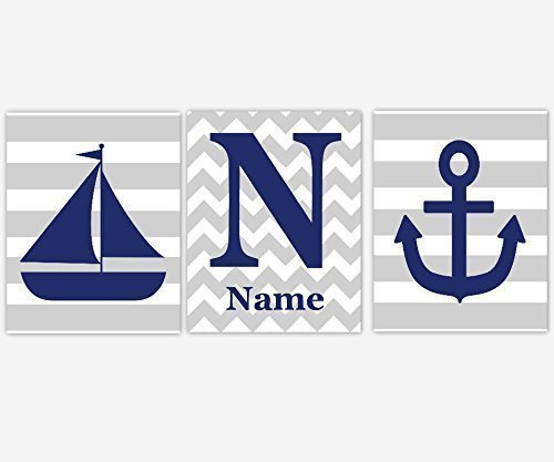Nautical Boy Nursery Wall Art Navy Blue Gray Grey Anchor Sailboat Boat Personalize Monogram Name Chevron Stripes Toddler Bedroom Baby Nursery Decor SET OF 3 UNFRAMED PRINTS ()