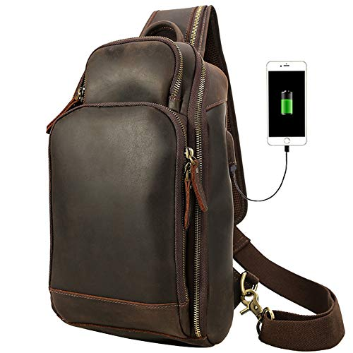 vintage Men's High capacity real Leather chest bag Business Casual Outdoor Sling Bag (Style 8 - Crazy Horse leather) ()