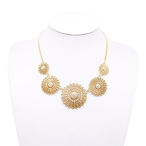T-Doreen Gold Collar Necklace Boho Hollow Floral Flower Statement Necklace for Women by T-Doreen