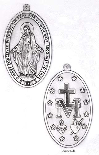 LMM001 The Miraculous Medal - Small Wall Medal - Silver Tone