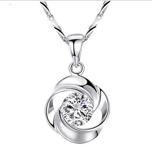 Rosa Trébol collar colgante plata de ley 925 mujeres collar colgante Fashion Classic Diamond Estrellas gama alta joyería fabricantes venta: Amazon.es: ...