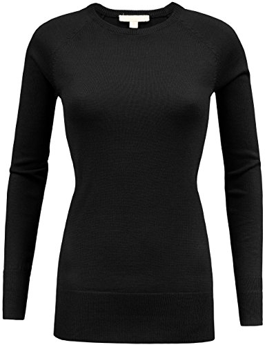 KOOLDO Womens Classic Solid Crew Neck Long Sleeve Knit Pullover Sweater-S-BLACK - Crew Neck Pullover