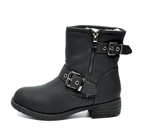 ace5d41eaad7 Dream Pairs Gemini Women s Winter Snow Fur Lining Buckles Side Zipper  Outdoor Boots
