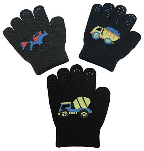N'Ice Caps Boys Magic Stretch Gloves 3 Pair Pack Assortment (3-5 Years, Trucks - Navy/Charcoal/Black)