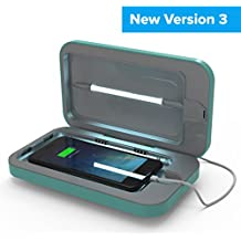 PhoneSoap 3 UV Cell Phone Sanitizer and Dual Universal Cell Phone Charger | Patented and Clinically Proven UV Light Sanitizer | Cleans and Charges All Phones - Aqua