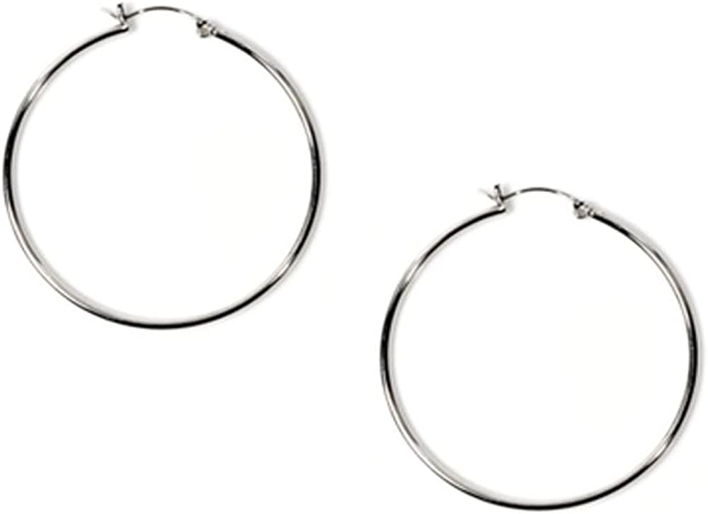 Medium .925 Sterling Silver Round Circle Hoop Earrings 35mm 1.5