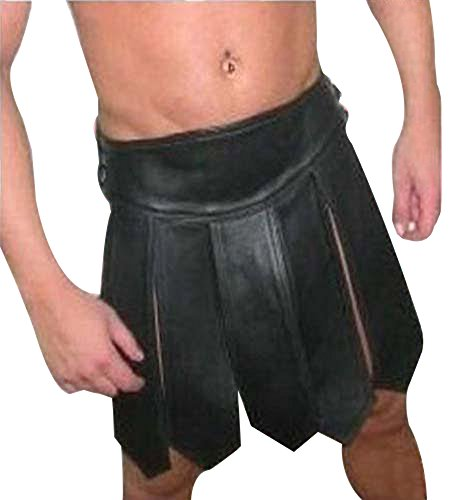 [Mens Sexy Real Black LEATHER Gladiator Kilt GAY Clubwear LARP - (K1) W34