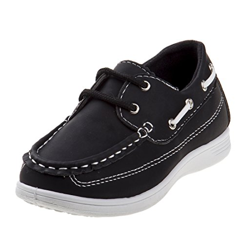 Josmo Boys Lace Up Boat Shoes, Black, 11 M US Little Kid'