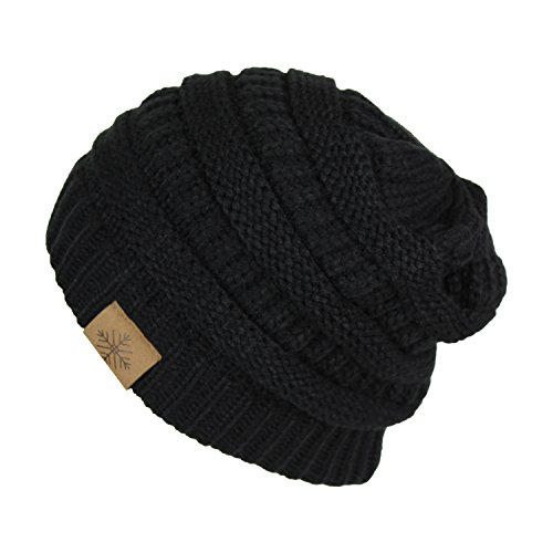 (Elliott and oliver Co. Classic Chic Stretchy Cable Knit Beanie Winter Hat- Slouch Acrylic Snow and Ski Cap (Black) )