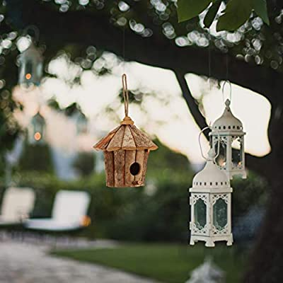 Relaxdays Vogelhaus Casa de pájaros Decorativa para Colgar (Madera, sin Tratar, Estilo rústico, balcón, jardín, Mini casita 22 x 22 x 22 cm), Color Natural, Naturaleza: Amazon.es: Jardín