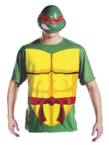 Teenage Mutant Ninja Turtles Mens Raphael Halloween 2 Go Costume with Mask L/XL (Teenage Mutant Ninja Turtle Raphael Adult Mask)