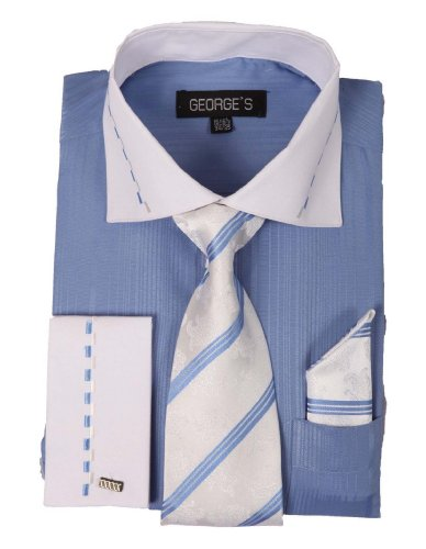 George's Mens Two-Tone Fashion Dress Shirts w/Matching Tie, Hanky & French Cuffs