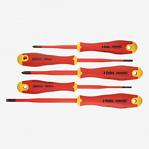 Felo 0715762743 E-Slim Insulated Screwdriver Set, Slotted & Phillips (5 Piece) ()