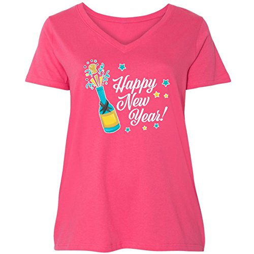 inktastic Happy New Year With Ladies Curvy V-Neck Tee 1 (14/16) Pink 2da34