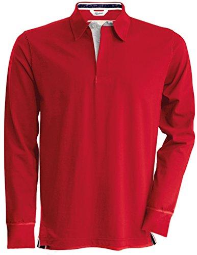 Kariban Vintage Long Sleeve Rugby Shirt - 3 Colours / Med-2XL - Vintage Red - XL