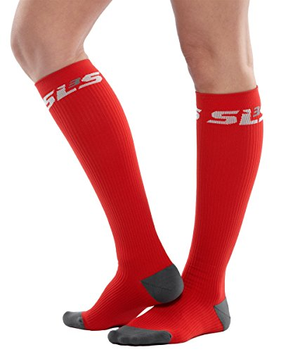 SLS3 True Graduated Allrounder Compression , Performance, Training, Race, Recovery Socks (1 pair) - Helps Shin Splints Black, Red Chili, - Usa Triathlon Shop