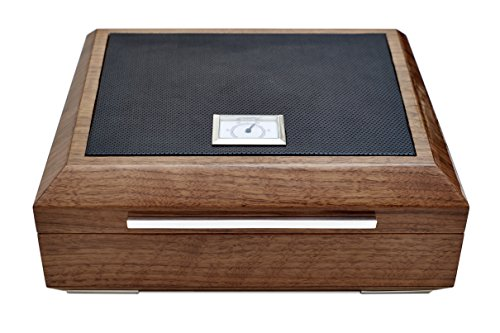 La Madera Cubana Premium Cigar Humidor Luxury Humidor Elegant Leather/Steel Design by La Madera Cubana