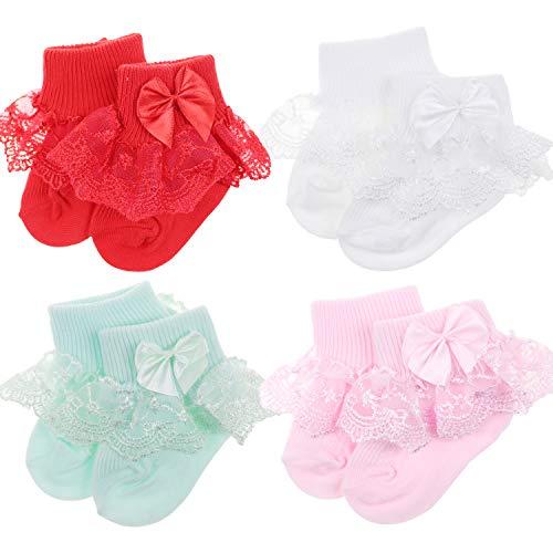 BQUBO Baby Girls Socks Infant Lace Sock Newborn Socks Eyelet Ankle Dress Sock ()
