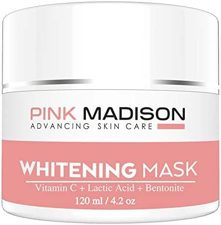 SKIN LIGHTENING Whitening Cream Mask. Use as Dark Spot Corrector to Brighten Dark Skin. Natural Whitening Cream Mask for Face Body Dark Spots and Age Spots. Contains Vitamin C + B3 + Lactic Acids + Various Clays. Face Legs Body Knee Elbow Skin Brighteners. Popular with Korean Japanese Women Men - 100% Satisfaction GUARANTEED 4.2oz