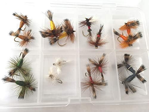BestCity pesca con mosca irlandesa WULFF Moscas secas 16 moscas en caja de tamaños 8-12 trucha moscas #312: Amazon.es: Deportes y aire libre