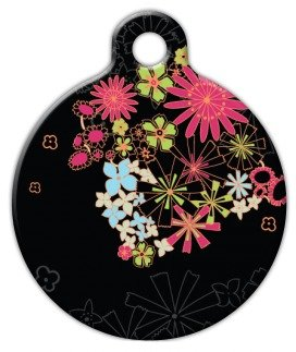 Dog Tag Art Custom Pet ID Tag for Dogs - Midnight Garden - S