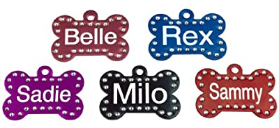 Swarovski Crystal Pet ID Tags - Bone Shape - 5 Colors by Providence Engraving