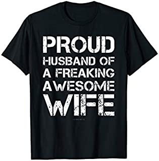 Cool gift Mens Funny Husband Tshirt - Proud Husband Freaking Awesome Wife. Women Long Sleeve Funny Shirt / Navy / S - 5XL