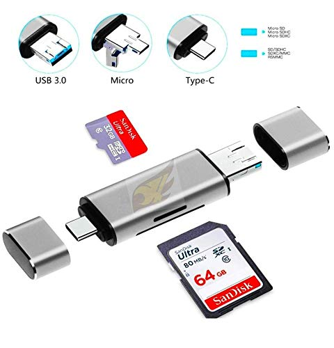 Famous Quality® SD Card Reader, 3-in-1 USB 3.0, USB C, Micro USB Card Reader SD, Micro SD, SDXC, SDHC, Micro SDHC, Micro SDXC Memory Card Reader for MacBook PC Tablets Smartphones (Silver)
