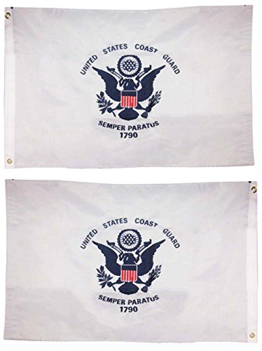 2×3 Embroidered USCG U.S. Coast Guard 2ply Sewn Nylon Flag 2'x3′ 2 clips Fade Resistant Double Stitched Premium Penant House Banner Grommets For Sale