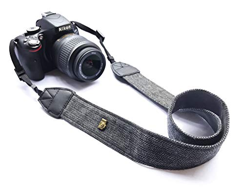 Alled XN01-0943 Neck Shoulder Belt Strap, Vintage Print Soft Colorful Camera Straps for Women/Men, All DSLR/Nikon/Canon/Sony/Olympus/Samsung/Pentax/Olympus, Black