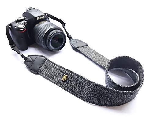 Alled XN01-0943 Neck Shoulder Belt Strap, Vintage Print Soft Colorful Camera Straps for Women/Men, All DSLR/Nikon/Canon/Sony/Olympus/Samsung/Pentax/Olympus, Black
