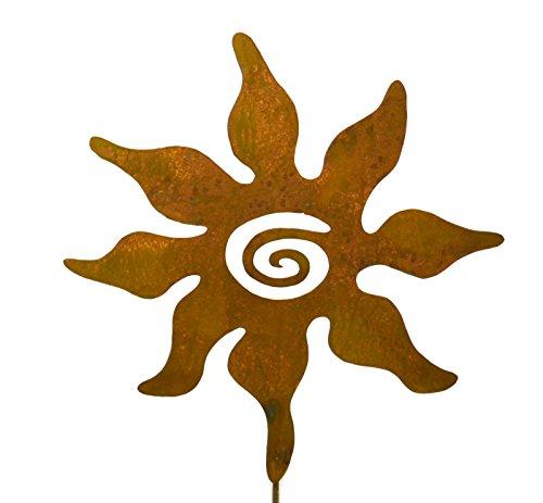Spiral Sun Rusty Metal Garden Stake