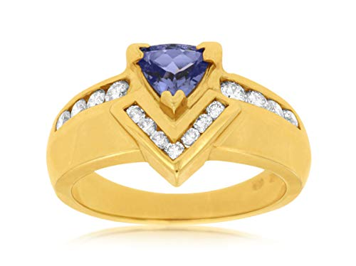 Milano Jewelers 1.10CT Diamond & AAA Tanzanite 14KT Yellow Gold Trillion Engagement Ring