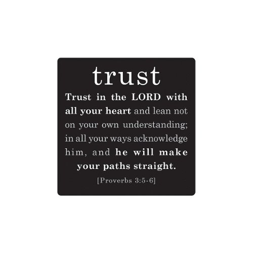 LCP Gifts Trust Simple Faith Black Metal Magnet Proverbs 3:5-6 Size: 2.5″
