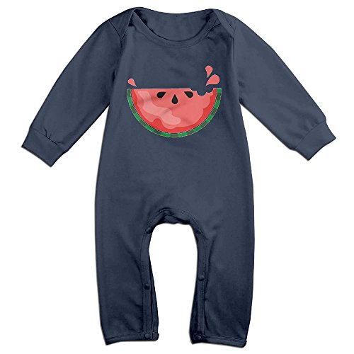 Price comparison product image PCY Newborn Babys Boy's & Girl's Sweat Watermelon Long Sleeve Romper Bodysuit Outfits For 6-24 Months Navy Size 6 M