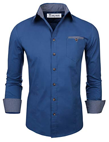 TAM WARE Mens Classic Slim Fit Contrast Inner Long Sleeve Dress Shirts TWNMS310S-8219-BLUE-US S ()