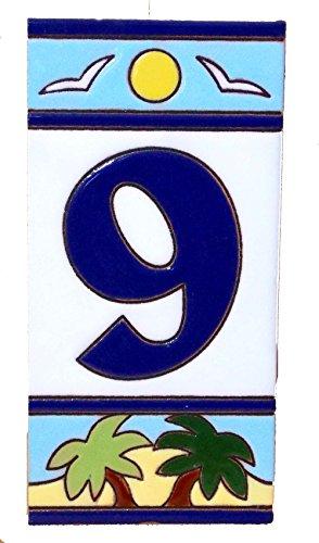 "Palm Tree Style Ceramic Address Number Tile 9 ( 3"" x 6"" )"