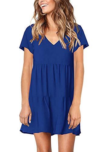 - CONMEN Women Casual Solid Short Sleeve Tunic Dress V Neck Swing Midi Dress Plain T Shirt Dress Royal Blue, XX-Large