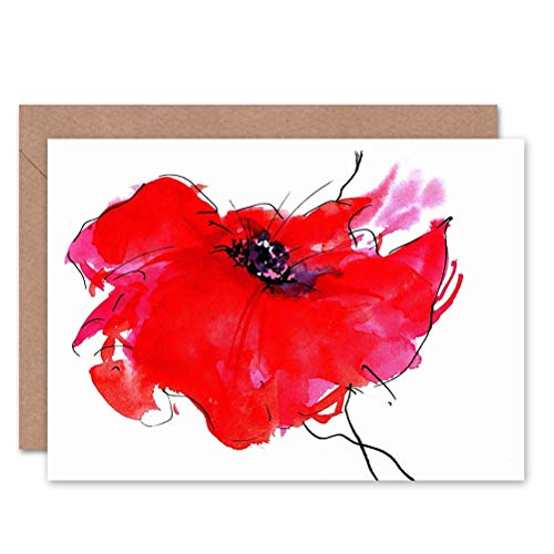 Wee Blue Coo DT Single Painted Poppy Birthday Gift Blank Greetings Card