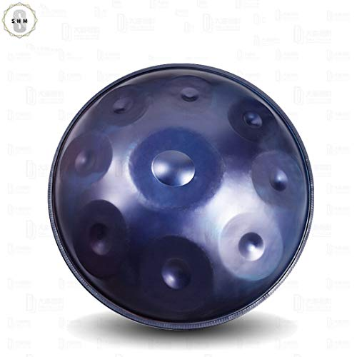 SHMGSG Professional F Major Large 9 Notes Handpan Steel Drum Handcraft Metal Hand Drum Melodic Percussion Instrument with Drum Stand,Blue