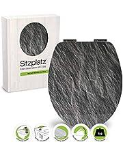 Zitplaat, 40370 2, wc-bril, decor antraciet, mat, toiletbril met softclose-sluitmechanisme, toiletbril met houten kern en Fast-Fix snelbevestiging