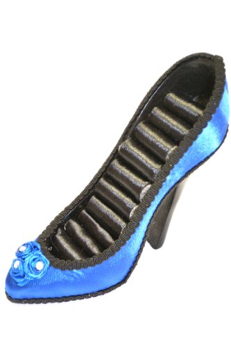 Blue Satin w/ Flowers Pump High Heel Ring Holder Shoes (Doll Velvet Heels Shoes)