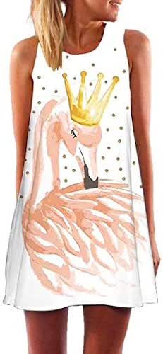 Flamingo Starry Night Short Dress Summer Women Floral Boho Beach Sundress Sleeveless Flamingo Chiffon Dresses De Fiesta occasion
